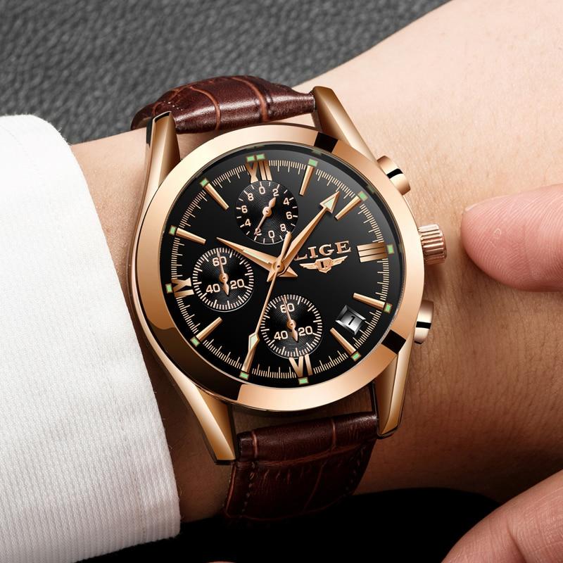 2020 LIGE Watch Men Sport Quartz Fashion Leather Clock Mens Watches Top Brand Luxury Waterproof Business Watch Relogio Masculino