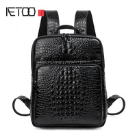AETOO Leather crocodile pattern shoulder backpack first layer of leather backpack leisure bag personalized travel bag man bag