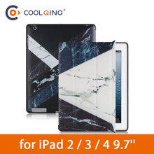цена на Patchwork Tablets Case For iPad 2/3/4 Marble Pattern Tri-folded TPU Soft Protective Cover PU Tablet Case For 9.7 iPad 2 3 4 Case