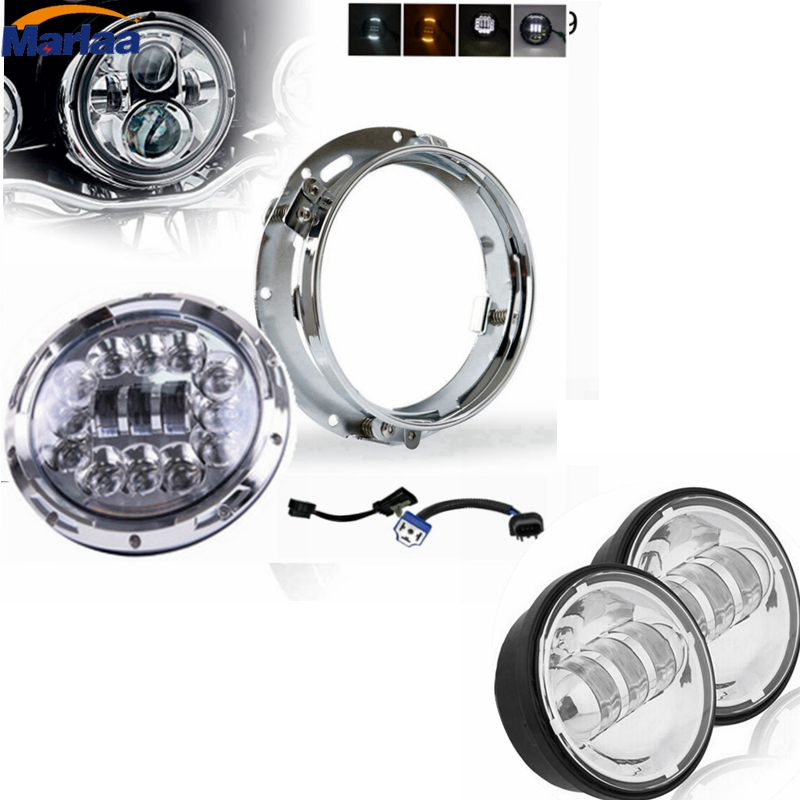 7inch Motorcycle Daymaker Replacement Led Headlight & bracket + 2X Fog Lights For Harley Davidson Electra Glide Road King Street 7 inch led headlight motorbike suit 7headlight monting ring fog lights for harley davidson electra glide road king street glide