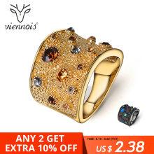 Viennois 18K Wide Gold Rhinestone Crystal Double  Cuff Cocktail Ring Size 6 7 8 For Women