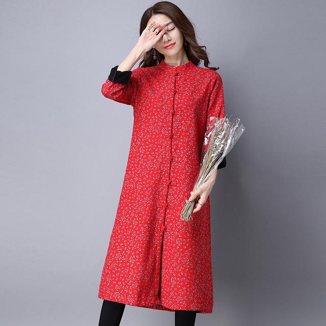 Mulheres Outono Inverno Forro Estampado Floral Gola Longo Casaco Casaco Vermelho Azul Verde Quente de Lã Feminino Casaco Outerwear