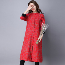 Women Winter Autumn Floral Print Liner Stand Collar Long Jacket Coat Red Blue Green Warm Fleece