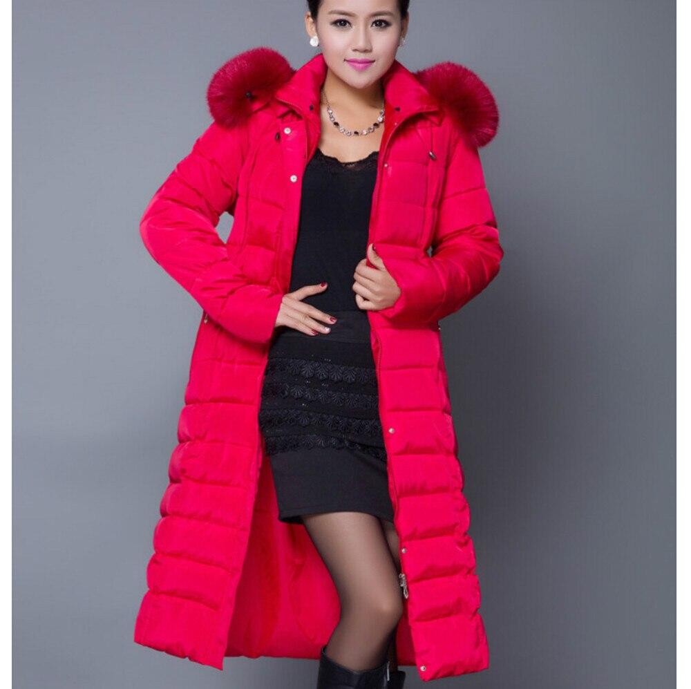 ФОТО New Fashion Women Winter Cotton Coat Hooded Fur collar Long-sleeved Super Long Down jacket Thickening Super Warm Slim Coat G1882