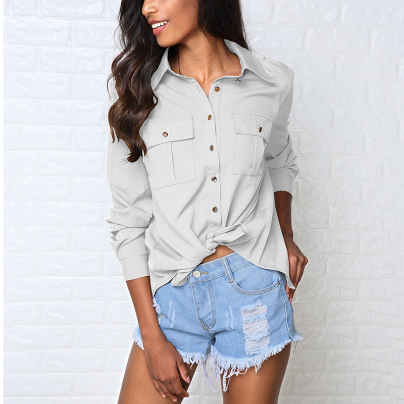 Sexy Nu Tops Ouvert blanc Chemises Col Manches Shirt Longues Blanc down Gris Blouse Gris Green Croisillon Solide Dos Femmes Turn Automne army nw14q0Y1