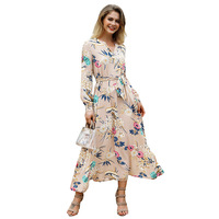 QMGOOD Fashion Flower Print Bohemian Long Sleeve Dress Sexy Maxi Dresses for Women New Vintage Evening Party Dress Ankle Length
