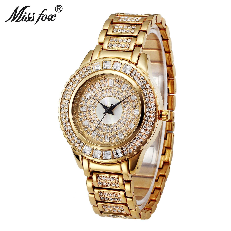 Miss Fox Luxury Brand Womens Watch Full Diamond Rhinestone Stainless Steel Gold Quartz Wristwatches Bracelet Relogio Feminino цена 2016