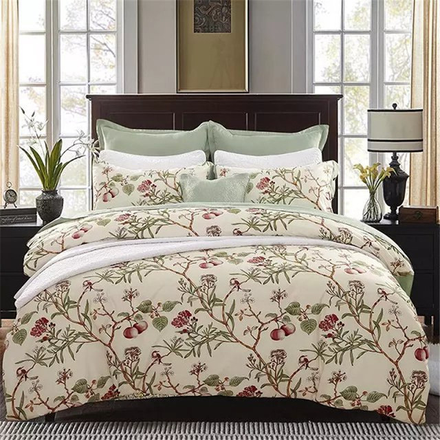 New Style Cotton Bedding Set,Floral and Grass Geometry Pattern,Modern Flower Queen Size Stripe Bed Duvet Cover Set Pillow Cases