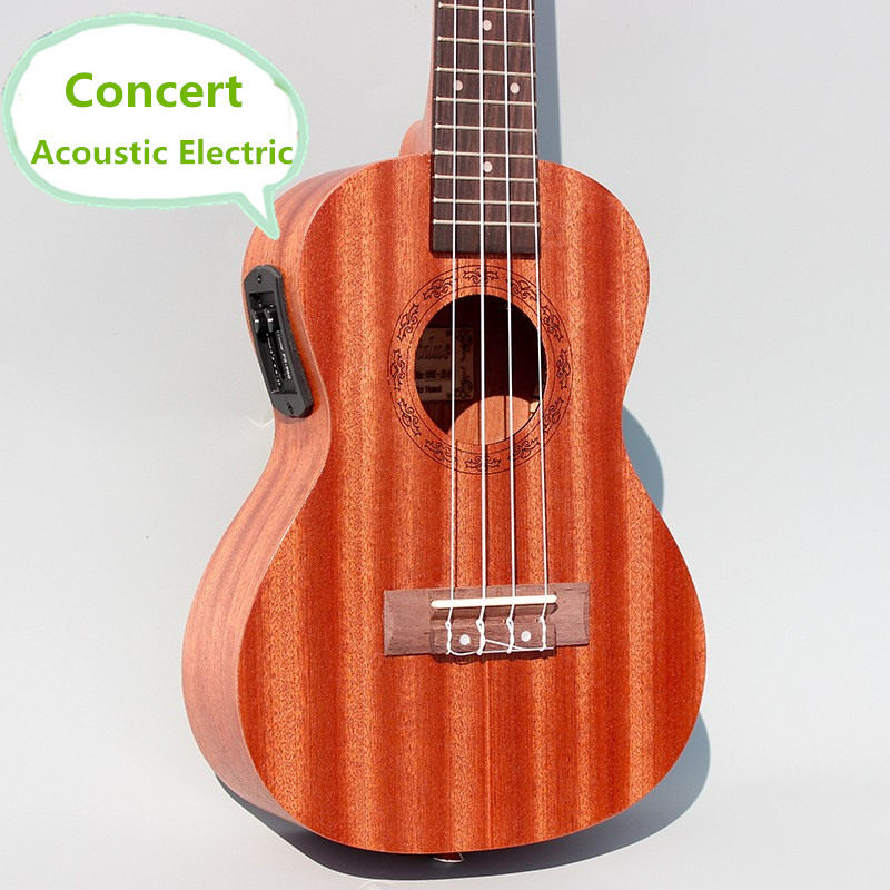 Concert Acoustic Electric Ukulele 23 Inch Guitar  4 Strings Ukelele Guitarra Handcraft Wood White Guitarist Mahogany Plug-in Uke soprano concert tenor ukulele 21 23 26 inch hawaiian mini guitar 4 strings ukelele guitarra handcraft wood mahogany musical uke