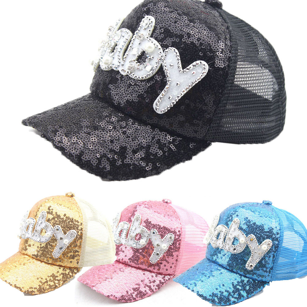 de095f9309435 Baby Children Sun Hat Summer baby baseball letter Baby sequined cap baby  boys girls children sun hat photography props