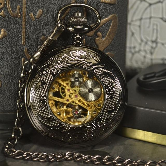 TIEDAN Skeleton Mechanical Pocket  Watches Men Antique Luxury Brand Hand Wind Necklace Pocket & Fob Watch Steampunk Chain Gold