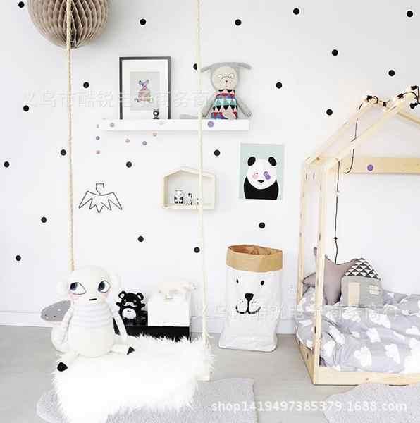أسود الذهب الوردي منقطة ستار الجدار ملصق الطفل الحضانة ملصقات أطفال الأطفال غرفة صور مطبوعة للحوائط ديكور المنزل DIY الفينيل جدار الفن