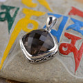 GZ 925 Silver Sqaure Pendant Smoky Quartz 100% Pure S925 Solid Thai Silver BrownQuartz Pendants for Women Jewelry Making