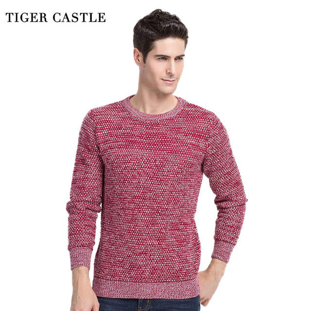 new concept outlet on sale top fashion TIGER CASTLE Casual O-Neck Mens Pullovers Spring Autumn Quality Cashmere  Wool Red Sweater Men Long Sleeve Slim Fit Pull Knitwear