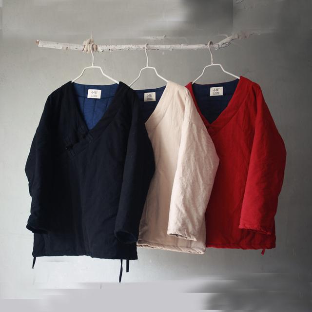 Mulheres Outono Inverno Casacos Acolchoados Senhoras Algodão Acolchoado Sobretudos Outwear Solto Feminino Corda de Linho Estilo Chinês