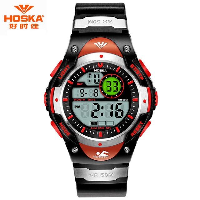 Электронные Часы Мужчины Известная Марка HOSKA Моды Спорт СВЕТОДИОДНЫЙ Дисплей Секундомер Световой Подсветкой Резиновая Лента Цифровые Часы H013