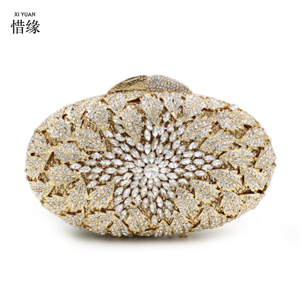 XIYUAN BRAND Flower Crystal Evening Bag Floral Purse And Handbags For Women Rhinestone Crystal Clutch Bag for party wedding sweet rhinestone and faux pearl embellished floral double layered bracelet for women
