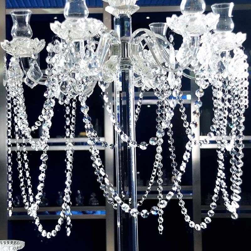 High Quality 1M New Bead Hanging Crystal Clear Acrylic Beads Garland Chandelier Hanging Wedding Decor Supplies VE