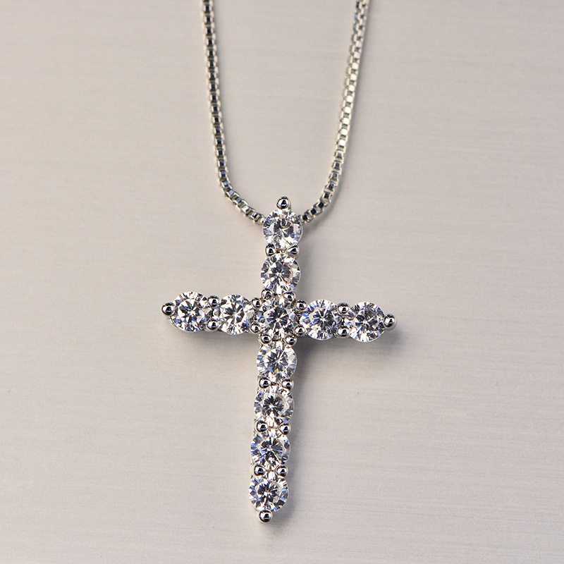 HTB16Ncvc8cXBuNjt biq6xpmpXaR - Lucky Female Cross Crystal Pendants Silver Color Chain Necklaces Shiny Zirconia Choker Necklaces Fashion Jewelry Gifts For Women