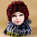 H765-Autumn winter  Women rex rabbit fur hat  with colorful knitted muffler,aslo can use as thicken warm winter cap  scarf