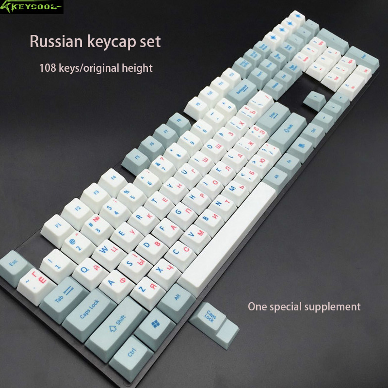 Russian Keycaps PBT Material Dye-Sublimated ANIS layout keycap Original Height 108 Keys Keyboard For Mechanical Gaming Keyboard russian new laptop keyboard for samsung np300v5a np305v5a 300v5a ba75 03246c ru layout