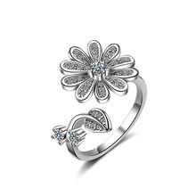Женское Открытое кольцо из серебра 925 пробы с кристаллами