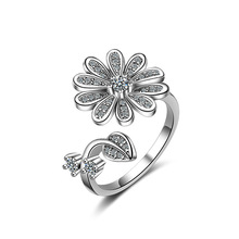 New arrival 925 sterling silver fashion sunflower crystal women birthday gift ladies`finger rings jewelry no fade open ring girl цена в Москве и Питере