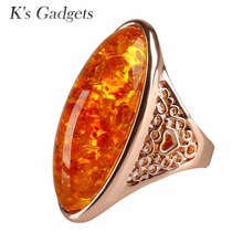 Yellow Imitation Stone Women Rings Fashion Rose Gold Color Trendy Jewelry Big Long Shape Stone Engagement Ring Bague