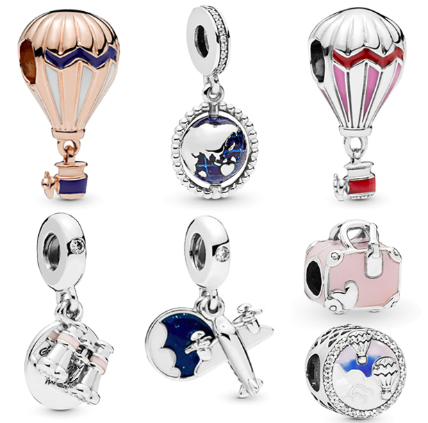 Original Pandora Jewelry Bracelets Beads Charms Globe Hot-Air-Balloon 100%925-Sterling-Silver