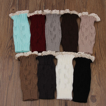 Women Girls Winter  Short Knit Leg Warmers Down Boot Cuffs Lace Trim Gaiters Socks Crochet Hot Sale