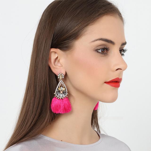 Ethnic Red Long Rhinestone Tassel Earrings