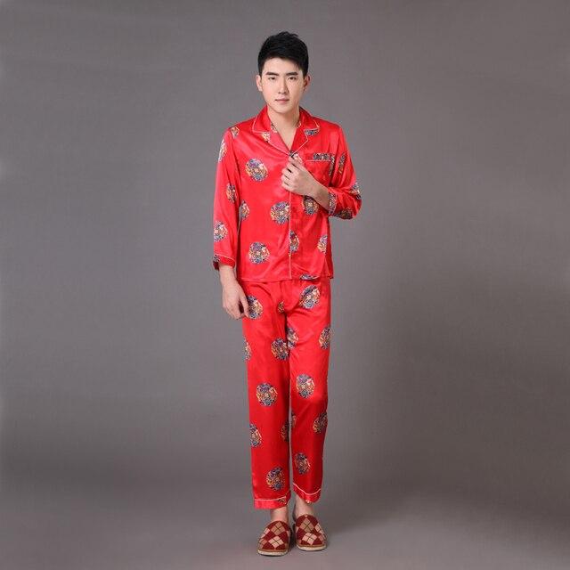 Новинка красный китайский стиль мужчины район пижамы весна осень с длинным рукавом пижамы костюм халат ночная рубашка сверхразмерные S-XXXL MP010