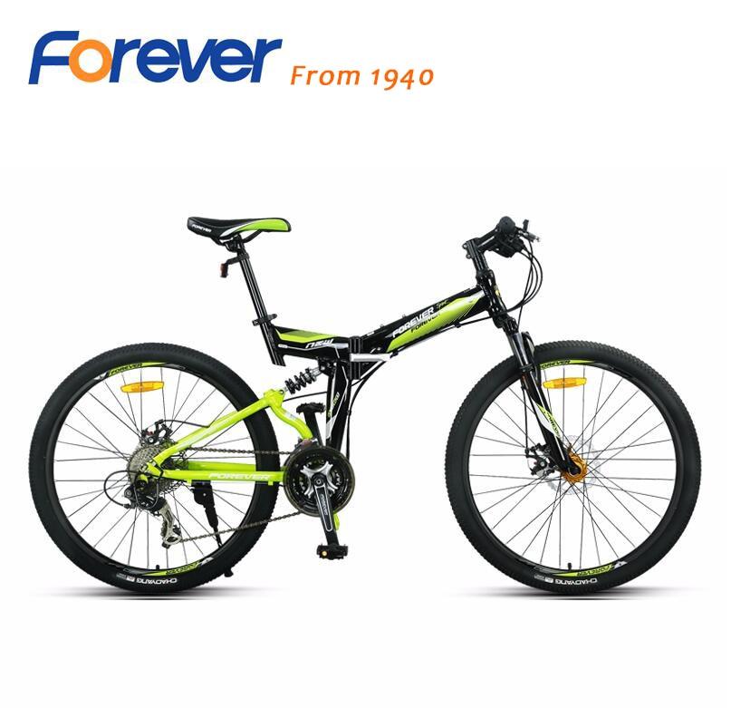 FOREVER Folding mountain bike 27 font b speed b font 26 inch aluminum frame full shock