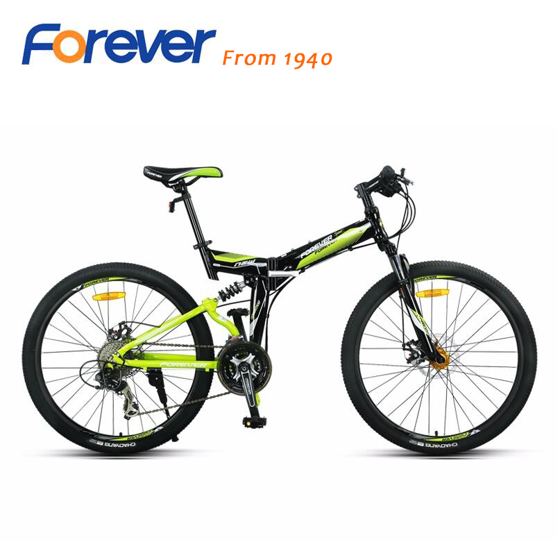 Siempre plegable bicicleta de montaña de 26 pulgadas, 27 velocidades de marco de aluminio de la amortiguador doble freno de disco de bicicleta QJ006
