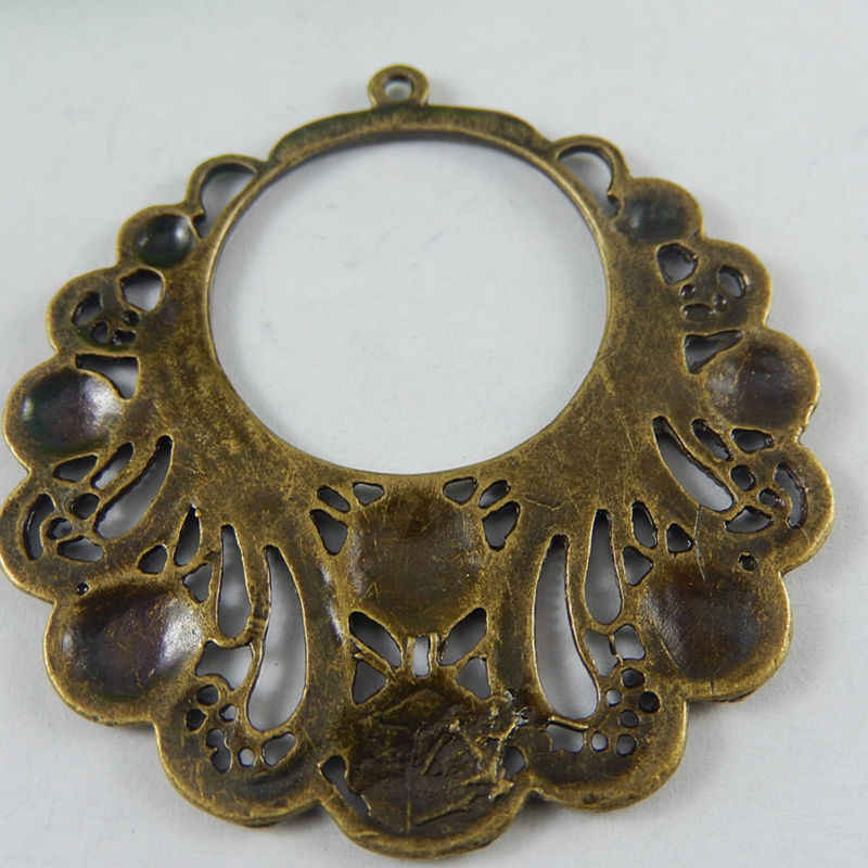 4 יחידות עתיק ברונזה סגסוגת שרשרת תליוני מעגלי ספירלת צווארון בציר חצי ירח מלאכות ממצאי קסמי תכשיטי ביצוע 51015