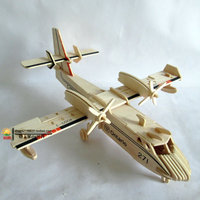 Amphibious Aircraft 3D DIY Plane Model Wooden Puzzles Handmade Beaver Airplane Wooden Aircraft Kids Plane Puzzle