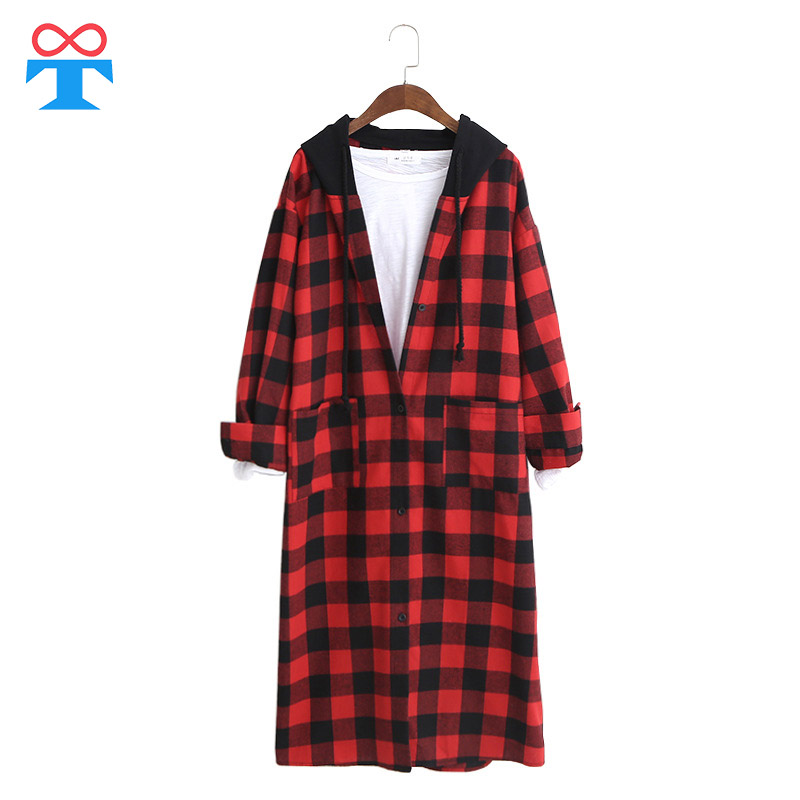 dbc8aa85dd9ba 2018 Women Red Plaid Shirts   Tops