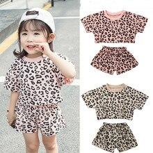 4 цвета, коллекция года, модные летние комплекты одежды для маленьких девочек комплект из 2 предметов, футболка с леопардовым принтом Топ+ шорты, От 6 месяцев до 5 лет