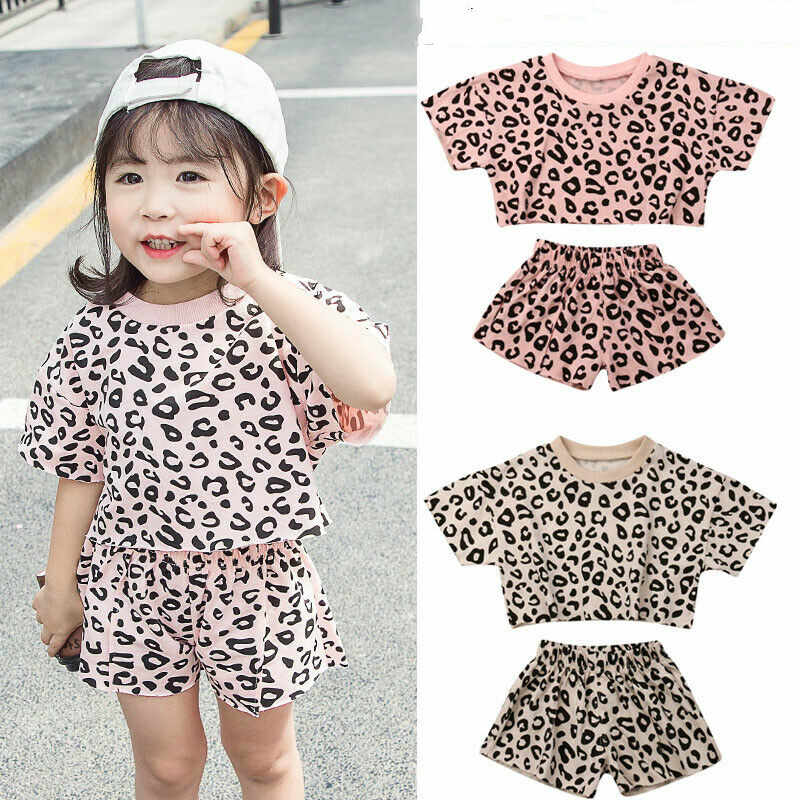 4 Colors 2019 Fashion Infant Baby Girls Summer Outfits Clothes Sets 2pcs Leopard Print T-shirt Top+Shorts Outfit 6M-5Y