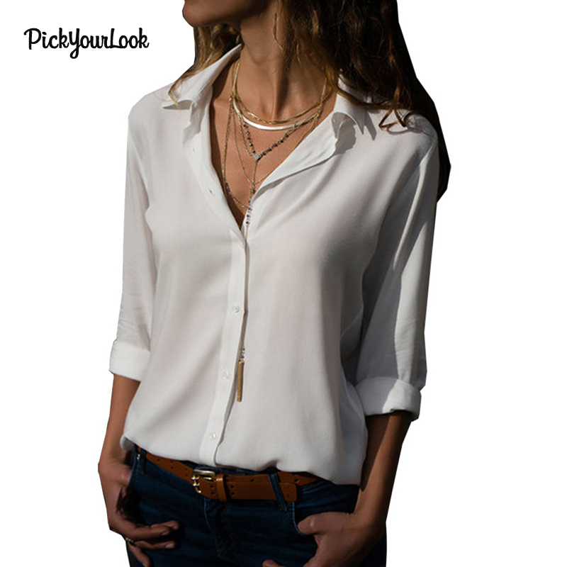 Pickyourlook Women Tops and Blouse Long Sleeve Plus Size Loose Shirts Sexy Ladies Blouse 2018 blusas mujer de moda OL Blouse