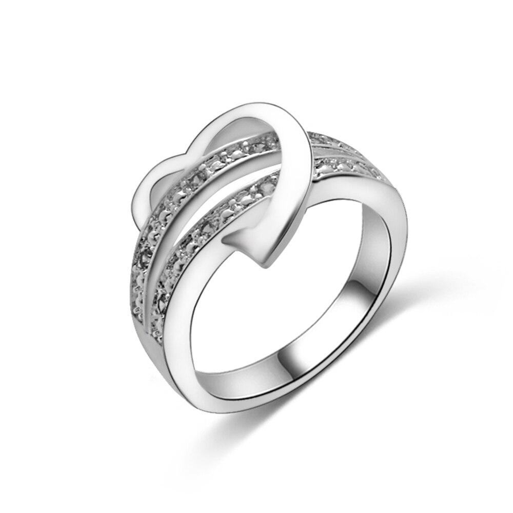 1 Pcs Neue Luxus Bling Silber Überzogene Kristall Herz Liebe Design Hochzeit Partei Schmuck Ring Bijoux Größe 6-10 Geschenk Dinge FüR Die Menschen Bequem Machen