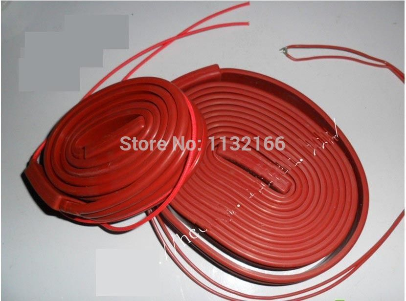 220VAC 500W 25*5000mm Silicon Band Heater Strip waterproof Electrical Wires 15x1000mm 75w 200 240v silicon heater strip belt for air conditioner compressor crankcase turbine electrical wires