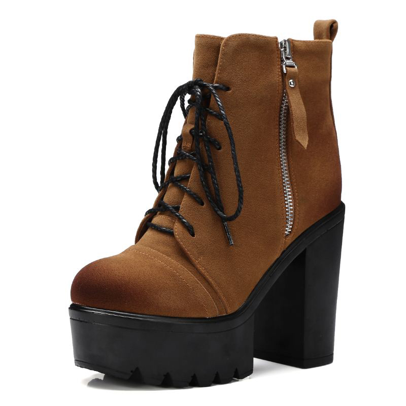 High Quality Lace Up Nubuck Short Boots Women Thick High Heels Platform Shoes Woman With Fur Skid Proof Fall Winter Suede Boots size 34 42 high quality women knee boots add fur buckle charm thick heels fashion winter boots platform skid proof shoes woman
