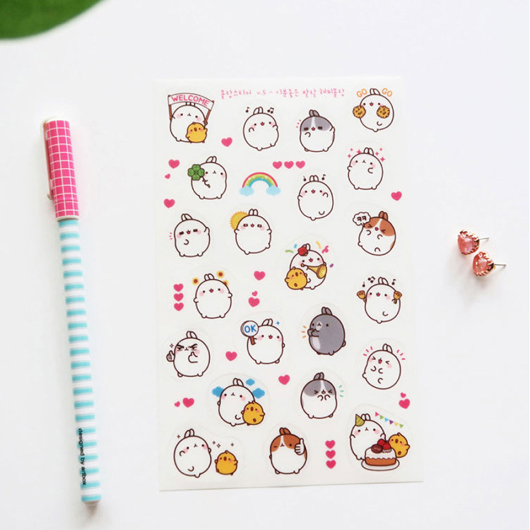 6 pcs/pack Round White Molang Rabbit Decorative Stationery Stickers Scrapbooking DIY Diary Album Stick Label 18mm round lead free packing rohs label stickers 15 x 50 pack