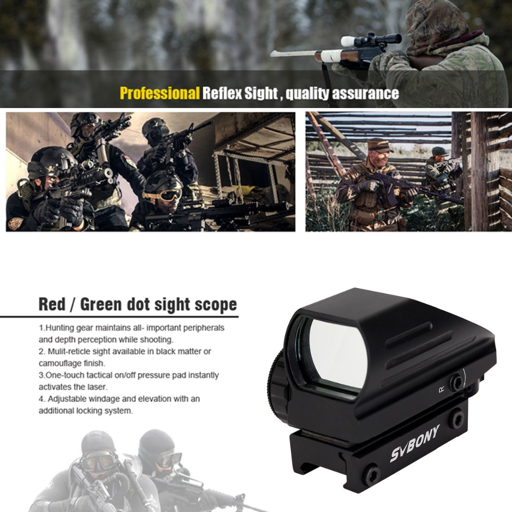 Image 5 - SVBONY 20mm Ratil Red Dot Scope Riflescope Optics Tactical Red Green 4 Reticle Dot Reflex Optics Sight Hunting Scope F9129A-in Riflescopes from Sports & Entertainment