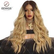 Синтетичні мереживо передня паричка Натуральна довга натуральна хвиля перуки Чорна коріння Ombre Blonde 2 кольори Парики для жінок Тяжкі парики
