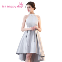 8f7325b3084b39 Short High Low Gray Modest Satin Bridesmaid Dress Halter Neck Dresses Short  In Front Long In