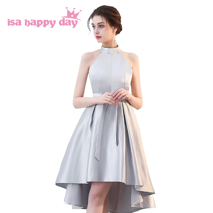 short high low gray modest satin   bridesmaid     dress   halter neck   dresses   short in front long in back with corset back H4260