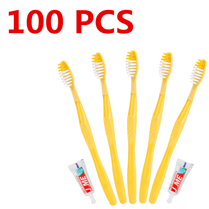 100/50 PSC Portable Hotel Disposable Toothbrush with Toothpaste Kit supplies Convenient Plastic Camping travel wash gargle Tool image