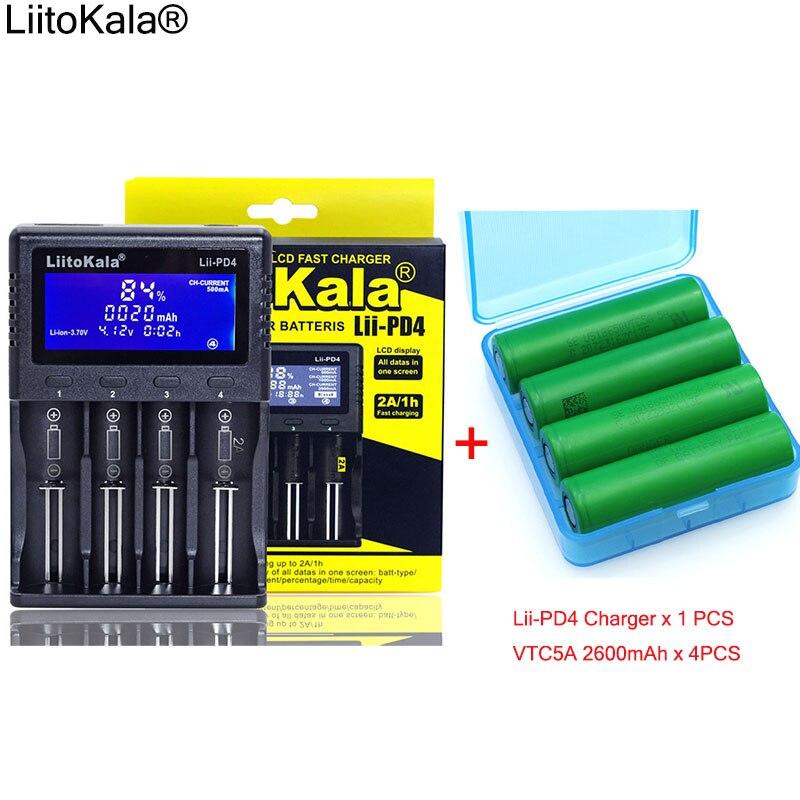 4 pièces 3.6 V VTC5A 2600 mAh batteries Rechargeables + 1 pièces Nouveau LiitoKala lii-PD4 LCD 3.7 V 18650 21700 chargeur de batterie